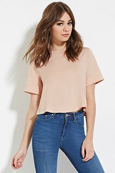 Boxy Cotton-Blend Tee FOREVER 21
