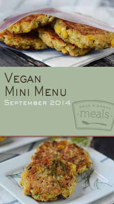Pizza, burgers and meatloaf, oh my! This Vegan Mini September 2014 Menu offers up a healthy spin on some traditional dinnertime favorites. | Vegan Mini September 2014 Menu | Once A Month Meals | OAMC | Freezer Cooking | Freezer Meals | Customized Shopping List | Custom Serving Menus | Pre-planned Menus | Customize your own!
