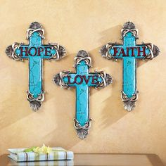 3 PC SET FAUX TURQUOISE PEWTER HANGING CHRISTIAN WALL CROSS CRUCIFIX SCULPTURE