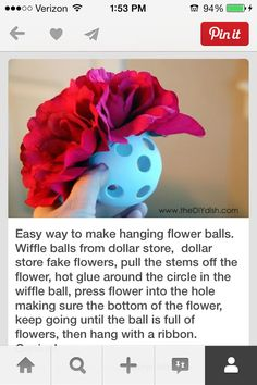 Flower Ball - Wiffle balls from dollar store, dollar store fake flowers. Pull the stems off the flower, hot glue around the circle in the wiffle ball, press flower into the hole. Keep going until the ball is full of flowers, then hang with a ribbon. Do It Yourself Inspiration, Diy Inspiration, Cute Crafts, Crafts To Do, Diy Crafts, Do It Yourself Wedding, Do It Yourself Home, Diy Projects To Try, Craft Projects