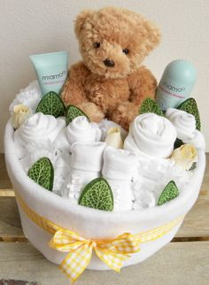 Unisex Baby Nappy Cake Bouquet Arrangement by Say It Baby