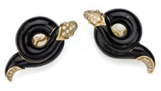 Pr of Gold, Black Enamel, Diamond Earclips, Christian Dior | Doyle Auction House