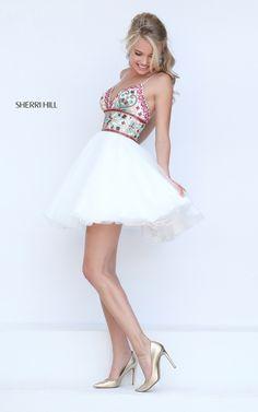Short Ivory Sherri Hill 50475 Tulle A Line Prom Dress