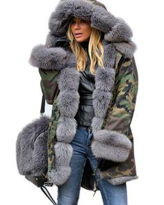 276eff24fab Pictures of Roiii Grey Faux Fur Military womens fur hood coat Fur Collar  Coat
