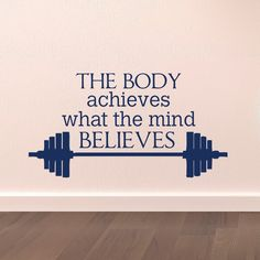 Gym Wall Decal Sports Quotes The Body Achieves What The Mind Believes- Motivational Quotes Sports Wall Art Gym Fitness Home Decor  Approximate Item Sizes:  10 Tall x 19 Wide 14 Tall x 27 Wide 22 Tall x 42 Wide Dont see the size you need? Send us a message for your custom needs and we will create a listing just for you. Picture may not reflect true size.  Choosing from the color chart above, please leave your choice of color in the message box when purchasing. If a color is not chosen black…