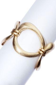 18K Gold Clad Brushed Oval Toggle Bracelet