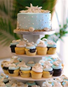 Google Image Result for http://cherrymarry.com/wp-content/uploads/2012/03/beach-wedding-cake-with-cupcakes.jpg