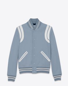 Saint Laurent Teddy Jacket In Royal Blue Virgin Wool And Off White Leather 1590 EUR.