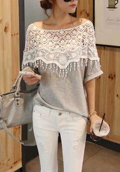 Grey Patchwork Round Neck Loose Cotton Blend T-Shirt