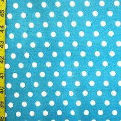 Style: PS-3152 Width: 60 Stretch: 2 Way St Color: White/Turquoise Per Yard Price: $6.00 Description: White Dots on Turquoise ITY/Polyester