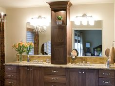 bathroom vanity tower | Product Details: Walnut Master Bathroom Vanity with Tower on Counte ...