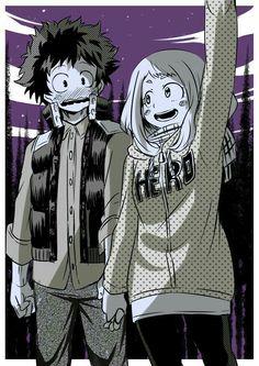 Izuku, Ochako, blushing, couple, funny, holding hands, starry sky, night; My Hero Academia