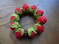felt strawberry bracelet