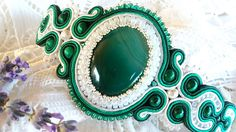 Bratara soutache verde cu agat Soutache Jewelry, Agate, Tableware, Green, Malachite, Dinnerware, Tablewares, Agates, Dishes