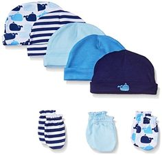 Luvable Friends Cap and Scratch Mitten Set: Luvable Friends 5 caps and 3 scratch mittens sets are the perfect way to keep your baby covered and avoid scratching. All caps and scratch mittens are 100 percent combed cotton and soft on baby's gentle skin. Disney Baby Clothes, Cute Baby Clothes, Baby Disney, Baby Tights, Baby Socks, Baby Doll Nursery, Baby Whale, Cute Twins, Baby Shower Gifts For Boys