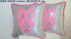 Silver pink owl 20x20 pillow cover  Sequin piping fur by SABDECO