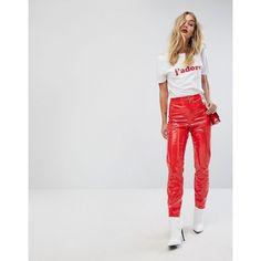 Miss Selfridge High Waist Vinyl PANTS ($57) ❤ liked on Polyvore featuring pants, black, high rise trousers, slim pants, slim fit trousers, slim fit pants and wet look pants
