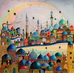 Iraqi artist Muhanad alsameer  الفنان التشكيلي العراقي مهند السمير Art Arabe, Timor Oriental, Middle Eastern Art, Arabian Art, Art Populaire, Arabic Calligraphy Art, Building Art, Art Et Illustration, Art Moderne