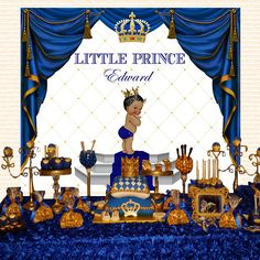 gold and royal blue prince, crown, baptism, christening, birthday, baby shower backdrop, sign poster, banner, party, decor, king, 72x60''