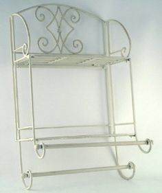 New Shabby Chic Wall Mounting TOWEL RAIL Display Shelf in Cream