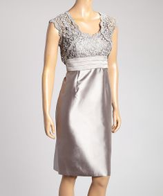 Gray Leaf Lace Sleeveless Dress & Shrug - Women   something special every day