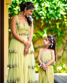 To get your  outfit customized visit us at Srinithi In Style Boutique Madinaguda Hyderabad WhatsApp/Call : +919059019000 /  or mail us at srinithiboutiquee@gmail.com  for appointments, online order and further details... Worldwide Shipping Avalible Mother Daughter Fashion, Mother Daughter Matching Outfits, Mom Daughter, Wedding Wear, Wedding Dresses, Wedding Bride, Party Dresses, Wedding Ceremony, Indian Wedding Poses