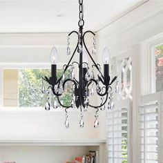 Bathroom Chandeliers Black 3-light iron and crystal chandelier | crystals, chandeliers and