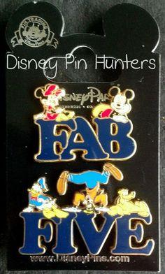 Disney DLR Fab Five' Letter - 2 Pin Set Mickey, Minney, Donald, Pluto, & Goofy
