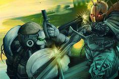 Un templario de Illian ataca a un Attila de Cybertronic