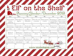 Elf on the Shelf. December 2013 Calendar. Free Printable. Elf on the Shelf Calendar.