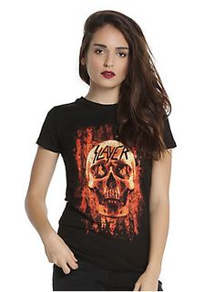 """<div>Name something more American than thrash metal. You can't do it, can you? Just wear this fitted black tee from Slayer instead. It has an image of a flaming skull in front of an American flag on front.</div><div><ul><li style=""""list-style-position: inside !important; list-style-type: disc !important"""">100% cotton</li><li style=""""list-style-position: inside !important; list-style-type: disc !important"""">Wash cold; dry low</li><li style=""""list-style-position: inside !important; list-style..."""