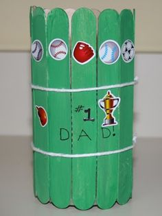 Use an old soup can, some popsicle sticks, and a little creativity to make a Father's Day pencil holder craft.   Materials:   empty soup can...