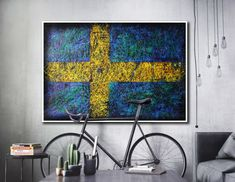 Hand painted Flag of Sweden- painting on paper. Colourful, light textured.