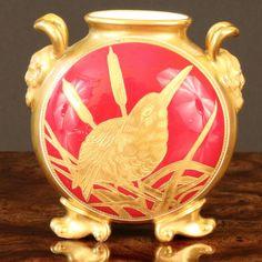 Antique Coalport Small Vase, gold encrusted, gilded, gilt #Coalport