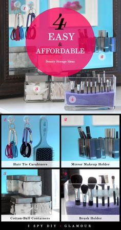 I SPY DIY x Glamour: 4 Easy and Affordable Beauty Storage Ideas: Girls in the Beauty Department. Diy Beauty Storage, Make Up Storage, Diy Storage, Storage Ideas, Storage Organizers, Diy Organizer, Morning Makeup, I Spy Diy, Diy Rangement