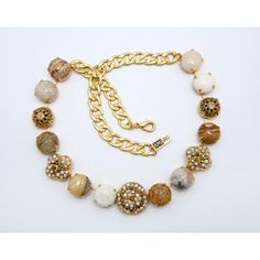 Amaro Jewelry Studio 'Illumination' Collection 24K Yellow Gold Plated Marvelous Collar Necklace Made with Flower Elements, Aragonite, Botswana Agate, Desert Jasper, Mexican Crazy Lace Agate, Moth