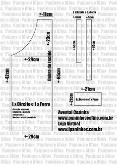 Paninhos e Afins: Molde (esquema) - Avental de Cozinha - Paninhos e Afins - Lê Rey
