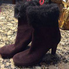 Sam & Libby suede, fur topped booties NEVER WORN Brown suede, faux fur toppers, zip back.  Medium width.  022907 Sam & Libby Shoes Ankle Boots & Booties