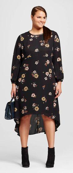 Plus Size Long Sleeve Crepe Dress