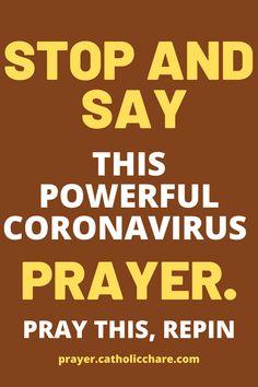Stop and say this powerful coronavirus prayer. #Coronavirus #God #Jesus #catholicfaith #March2021 #Prayerinspiration #Powerful Lent Prayers, Easter Prayers, Bible Prayers, Catholic Prayers, Holy Week Prayer, Christmas Prayer, Miracle Prayer, Inspirational Prayers, Power Of Prayer