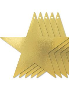 Gold Star Cutouts 15in 5ct -Table, Wall, Window -Hollywood Theme Party -Theme Parties - Party City