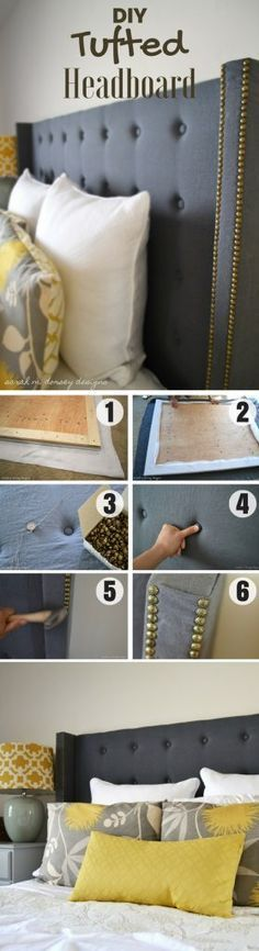 Check out how to build this easy DIY Ttufted Headboard Industry Standard Design