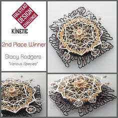 """""""Various Species"""" kinetic spinner brooch by Stacy Rodgers. Base metals, paint. More, including link to video showing the spin, at https://blog.halsteadbead.com/2016/05/25/2016-halstead-design-challenge-kinetic/."""