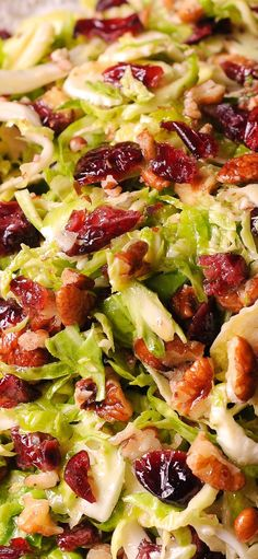 Brussels sprouts salad with honey mustard vinaigrette Shredded Brussels sprouts, dried cranberries and delicious pecans! Brussels sprouts salad with honey mustard vinaigrette Shredded Brussels sprouts, dried cranberries and delicious pecans! Thanksgiving Recipes, Holiday Recipes, Thanksgiving Holiday, Christmas Salad Recipes, Thanksgiving Brussel Sprouts, Christmas Pasta, Winter Salad Recipes, Dinner Recipes, Summer Salads