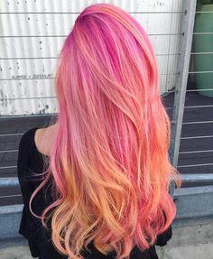 Beauty: Fantasy U… Beauty: Fantasy Unicorn Purple Violet Red Cherry Pink yellow Bright Hair Colour … Cute Hair Colors, Pretty Hair Color, Bright Hair Colors, Beautiful Hair Color, Hair Dye Colors, Hair Colour, Colours, Colorful Hair, Yellow Hair
