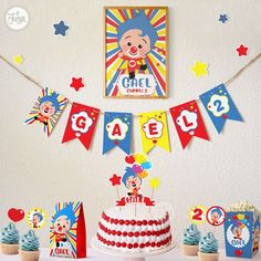 2nd Birthday Party Themes, Birthday Balloon Decorations, Circus Birthday, Boy Birthday Parties, 3rd Birthday, Twins 1st Birthdays, Baby Shower, Custom Cake Toppers, Party In A Box