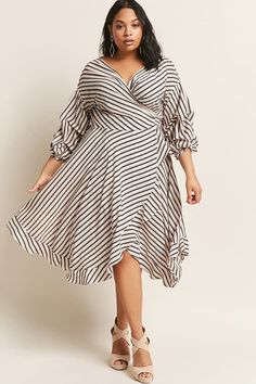 Product Name:Plus Size Stripe Wrap Dress, Category:CLEARANCE_ZERO, Price:58
