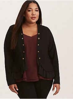 70a6004f823 Mixed Fabric Peplum Military Jacket