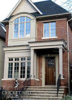 21 super ideas for front door ideas brick house exterior makeover Exterior House Siding, Exterior Paint Colors For House, Paint Colors For Home, Facade House, Paint Colours, Exterior Colors, Gray Exterior, Exterior Homes, Exterior Windows