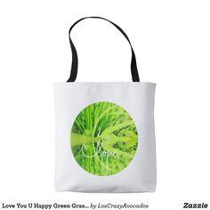 Love You U Happy Green Grass Tote Bag